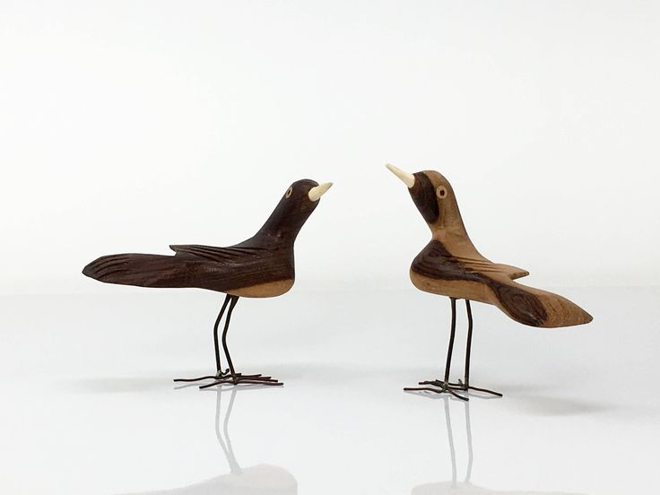 Pair Mexican Wooden Birds, Animal Figurines, Hand Carved Wood Birds, Wooden Figurines, Mexican Artwork, Wood Carvings, Decorative Figurines