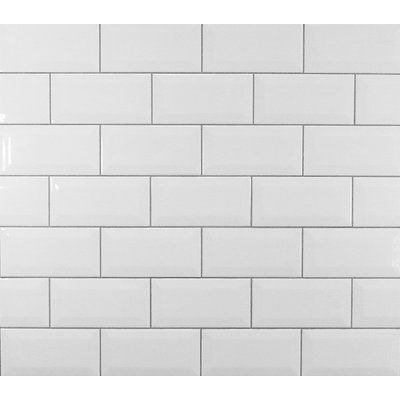 Mulia Tile Classic 3″ x 6″ Beveled Ceramic Subway Tile in White