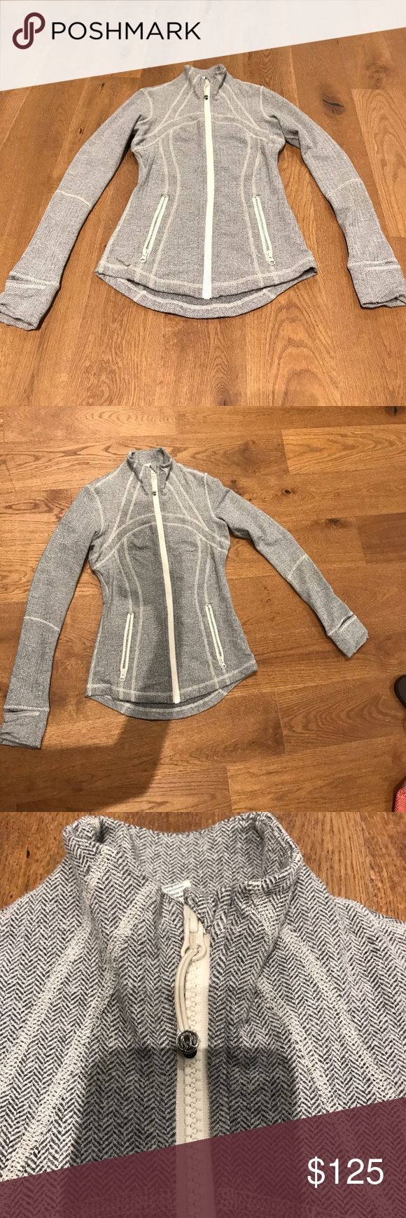 Lululemon herringbone define jacket Iconic herringbone Lululemon zip up jacket. Good condition. Super soft inside and ultra swimming. Thumb holes and fold over mitten covers. No pilling no stains no rips. Only worn a few times lululemon athletica Jackets & Coats