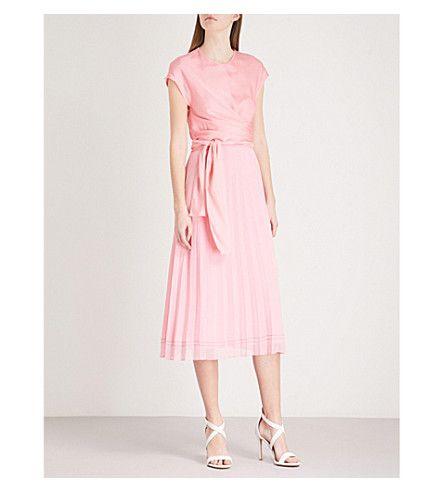 8457f668c6e784 SANDRO - Pleated wrapped waist midi dress