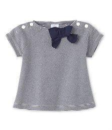 T-shirt met milleraies-strepen voor babymeisjes blauw Smoking / beige Coquille - Petit Bateau