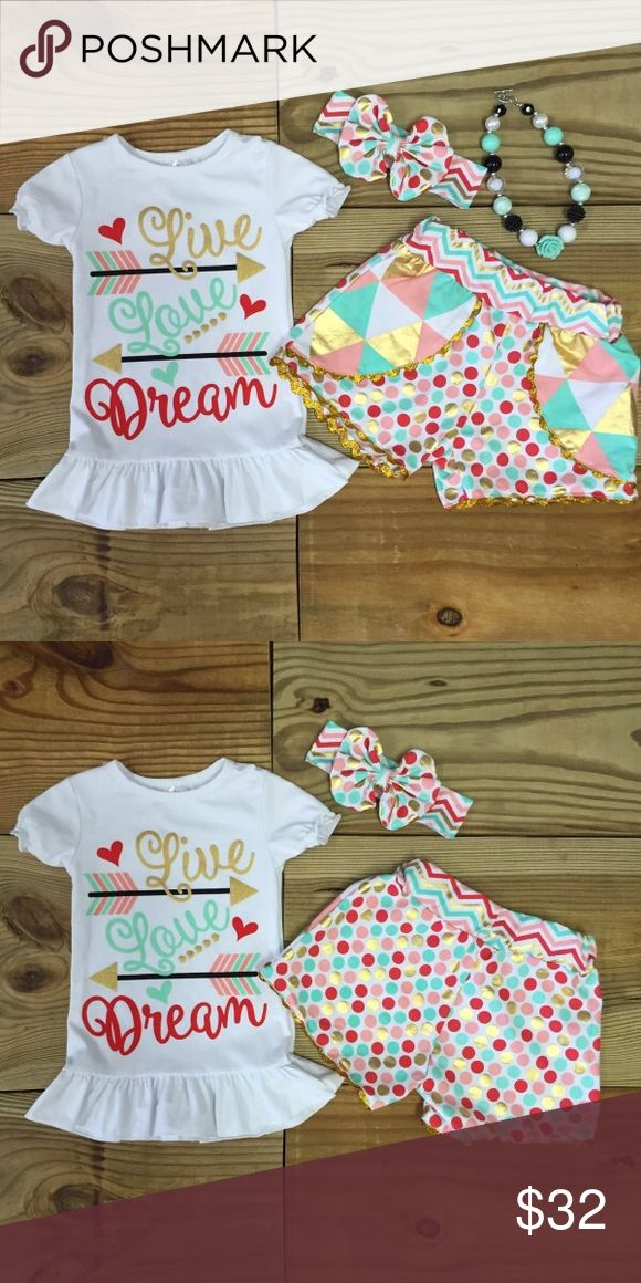 """""""Live Love Dream"""" Retro Polka Dot Chevron Outfit Our """"Live Love Dream"""" girls short outfit is trendy and oh so cute! The multi color polka dots and chevron print with metallic gold accents make this outfit stand out! The matching accessories are included! Infant girls, baby girls, toddler girls, and girls sizes 6-12 Months to 8-9 years. Grab one now for """"back to school"""", vacation, photo shoots, pictures, and everyday wear! Fits TRUE TO SIZE 97% Cotton 3% Spandex Sizes are limited and going…"""