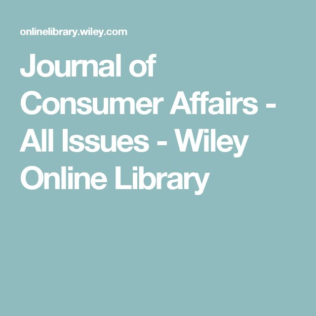 Journal of Consumer Affairs - All Issues - Wiley Online Library