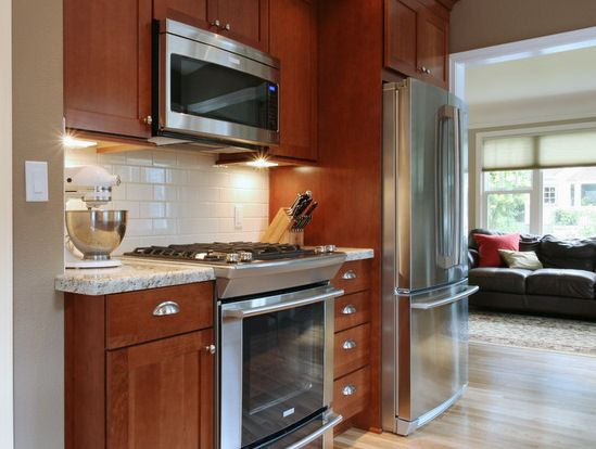Oak Cabinet Subway Tile Granite Countertops Backsplash And Floor Village Home Cherry Cabinets Kitchen White