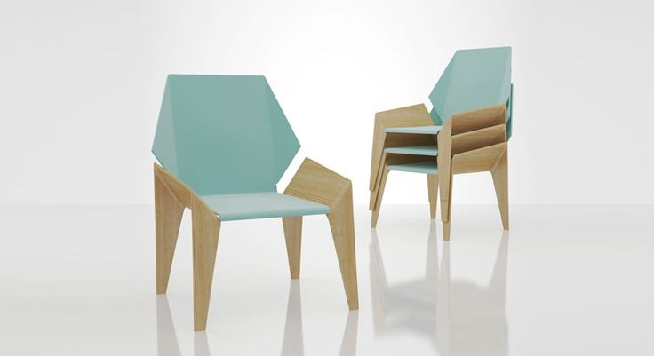 ORIGAMI CHAIR © Dr.HAKAN GÜRSU / DESIGNNOBIS Plywood structure combined with leather upholstery upon a metal structure, Origami folds on geometry allows for a stacking chair.