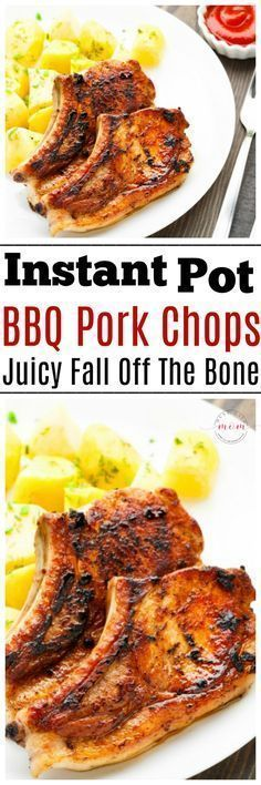 Instant Pot BBQ pork chops recipe ready in 10 minutes! These are the most moist, tender bone-in pork chops I've ever eaten! Great Instant Pot dinner recipe. via @musthavemom