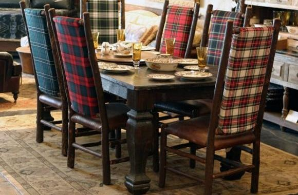 Six mis-matched plaid chairs were the perfect addition to a Ralph Lauren inspired dining room.