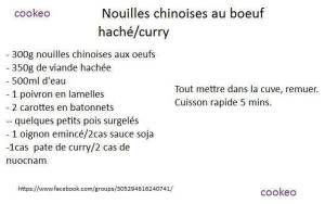 Nouilles chinoise au bœuf haché/curry