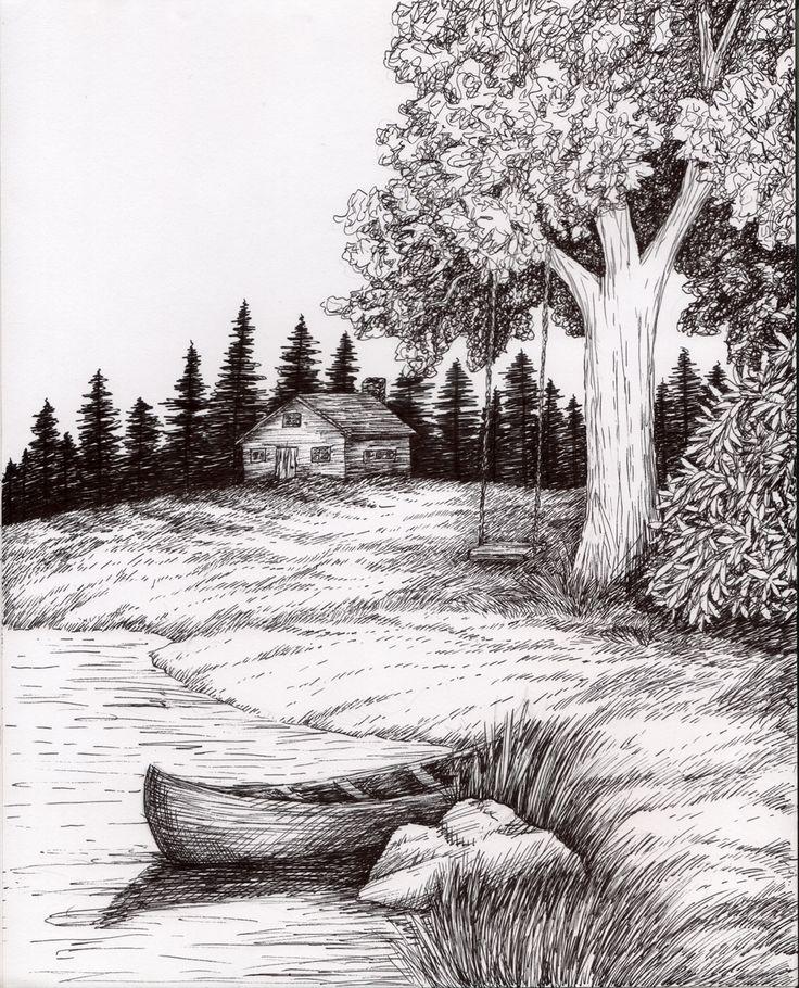 Pen And Ink Wash Landscape