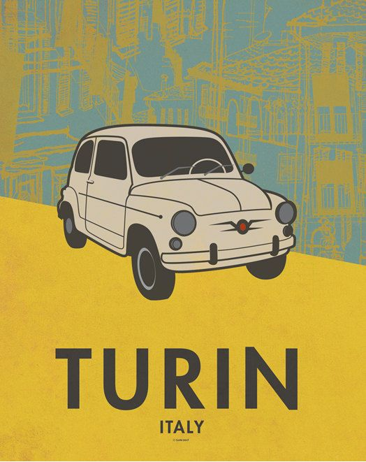 Turin poster. Italy. Vintage poster. Fiat poster