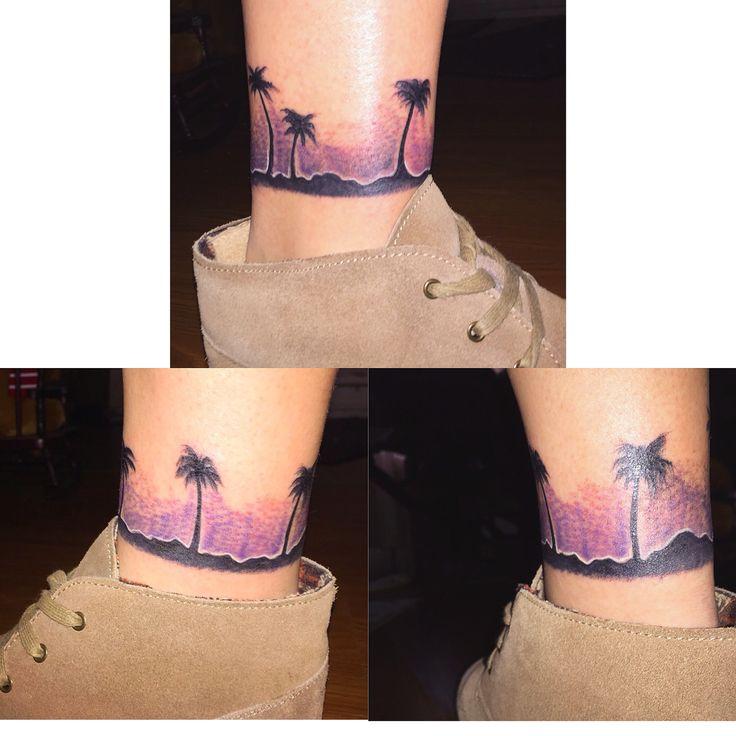 Wrap around ankle sunset palm tree tattoo tattoos for Wrap around ankle tattoos