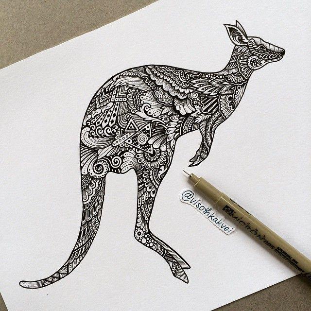 Afbeeldingsresultaat voor geometric kangaroo tattoo