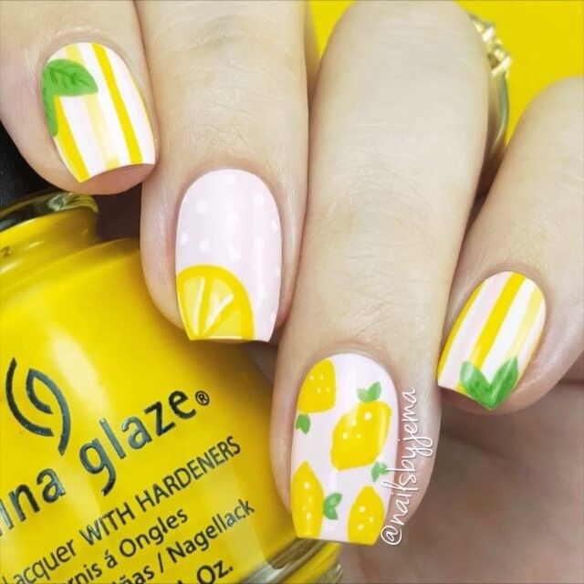 nailsbyjema: Part 1 of my tutorial for these lemon nails that are perfect for summer :) Let me know if you want videos for the other 2 nail designs (or you can just go check the YouTube video - Link in my bio!) Music: Beyonce - Hold Up
