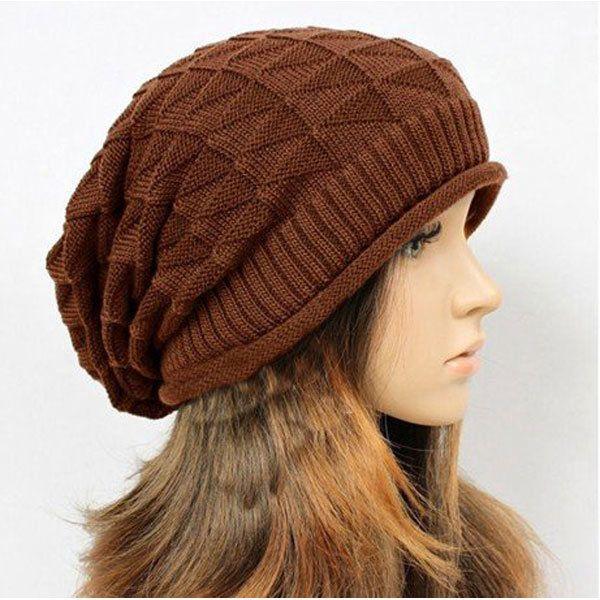 Men Women Knitted Crochet Ski Baggy Beanie Caps Diamond Shaped Grid Hats