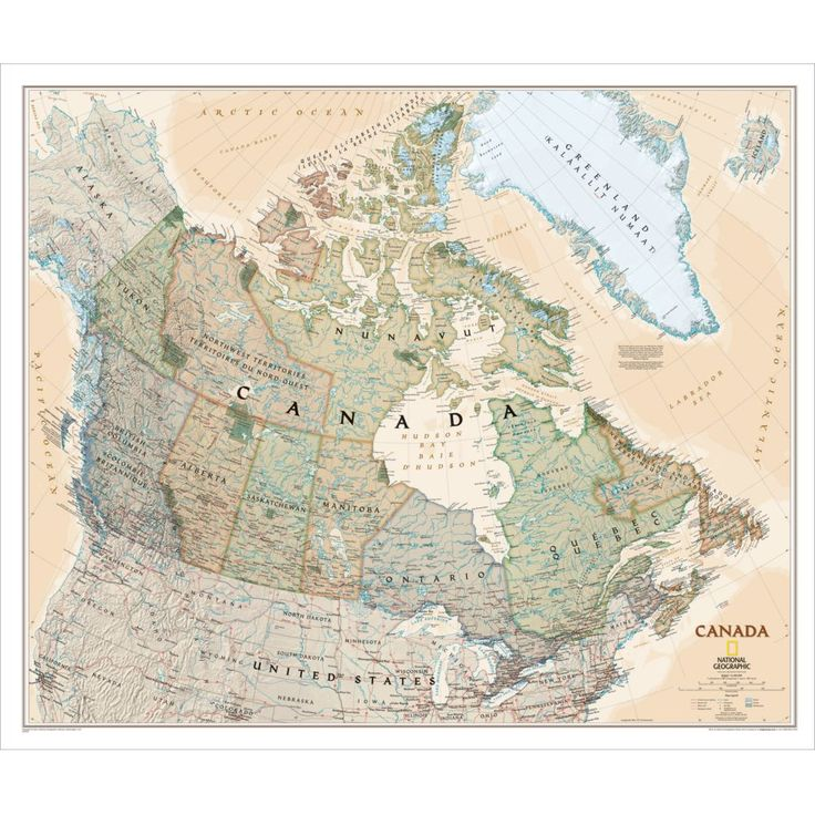 Canada Political Map (Earth-toned) | National Geographic Store