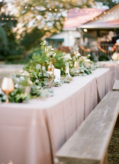 wooden benches at the reception | J Layne Photography