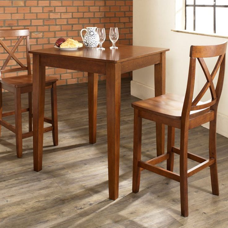 Crosley 3-Piece Pub Dining Set with Tapered Leg and X-Back Stools - Indoor Bistro Sets at Hayneedle