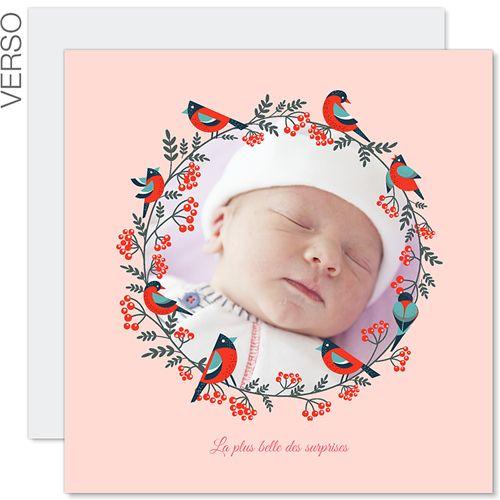 Faire-part Naissance Fille - Noël Rose 43369