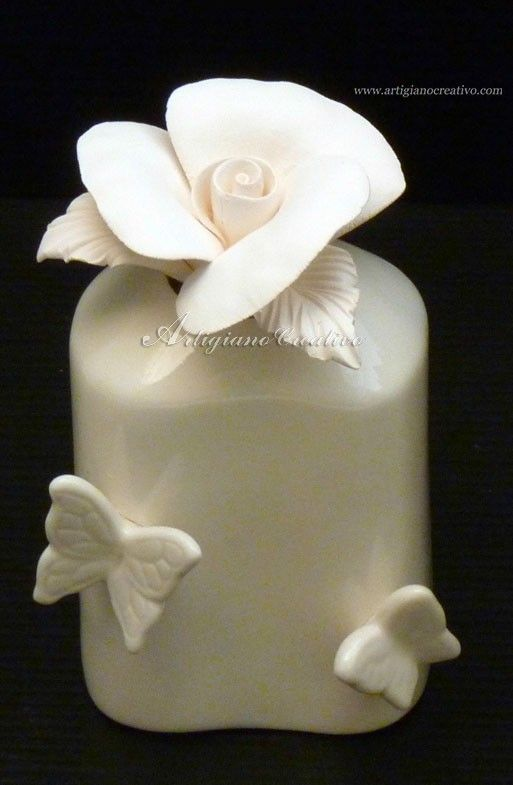 Fragrance diffuser with ceramic rose (5118) in artigianocreativo.com you shop bomboniere favors scented with exclusive fragrances unique italian wedding favors bomboniere!