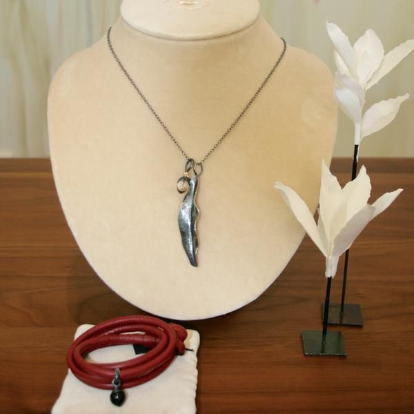 Ole Lynggaard Contemporary Silver Jewellery Capsule - Red Leather Bracelet & Onyx Charm-Buy on 3mth subscription