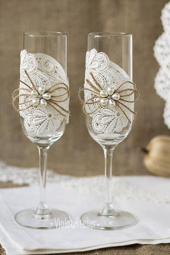 Lace Toasting Flutes Pearl Flower Champagne Wedding Glasses