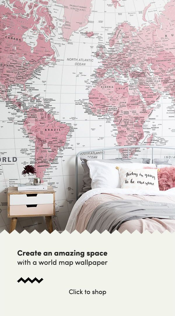 Pink And White World Map Wall Mural In 2019 World Map Wallpaper
