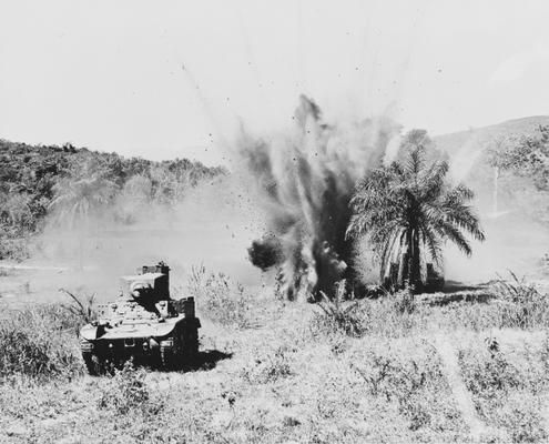 tank attack m3 stuart in japanese in Guadalcanal.