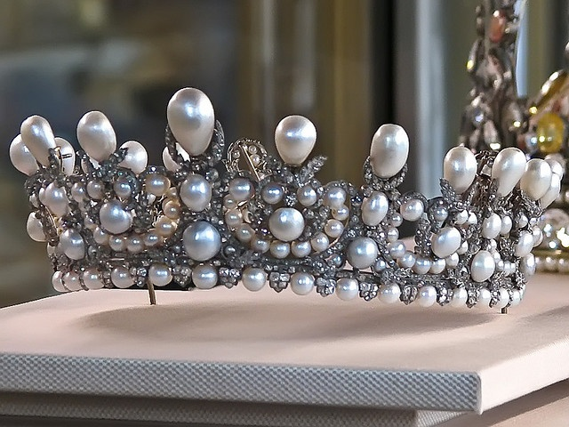 Empress Eugenie's Grand Pearl and Diamond Diadem of the French Napoleonic Crown Jewels. Eugénie's tiara was created by the Crown Jeweller, Lemonnier, using the Napoleonic pearls. The Louvre.