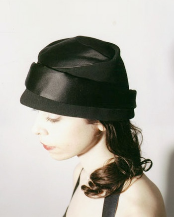 spiral cloche, black satin silk and wool