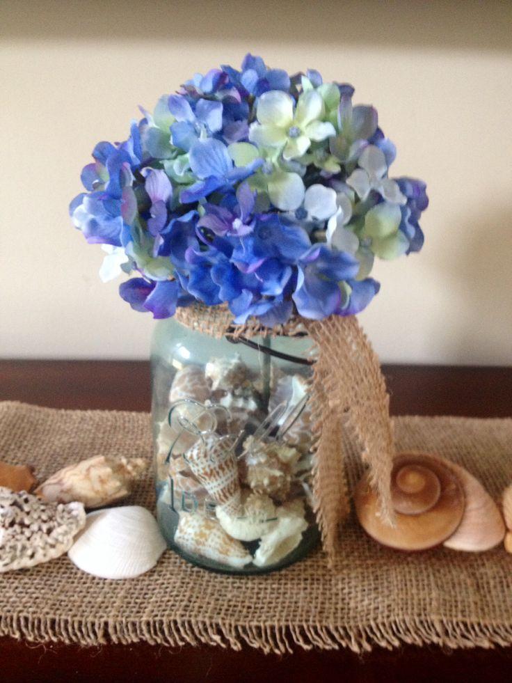 29 best silk flower arrangements images on pinterest floral blue hydrangea in vintage blue mason jar with seashell vase filler silk hydrangeasilk flowersblue mightylinksfo Images