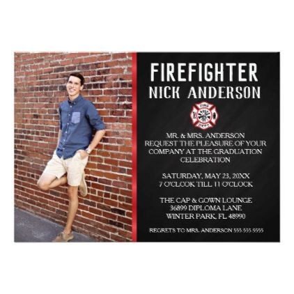 Trendy Firefighter School Graduation Announcement - customize create your own #personalize diy & cyo