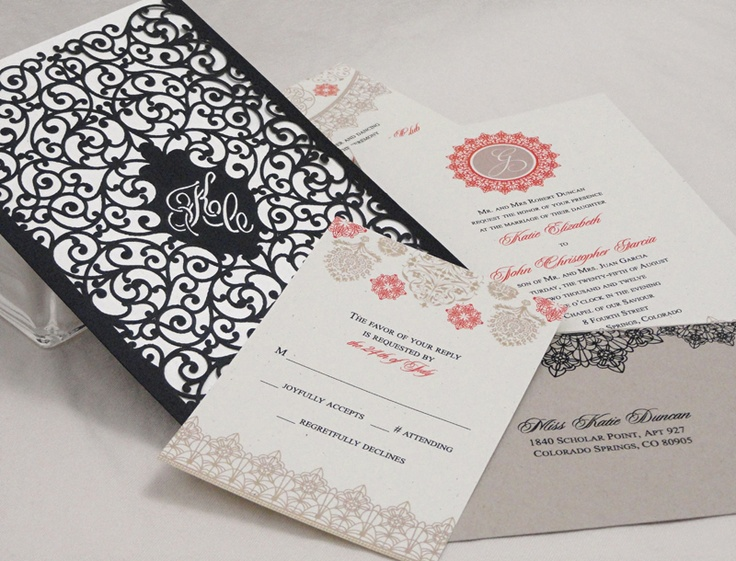 laser cut design wedding invitation with Spanish theme. by www.impressmedesigns.com