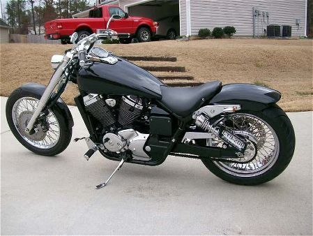 Honda Shadow stretched w/ wide tire and modified tank ...