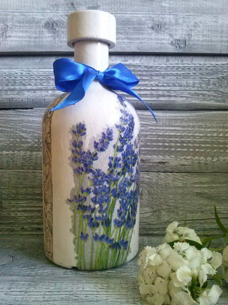 "butelka decoupage ""lavende"" w World of manually made decoration  na DaWanda.com"