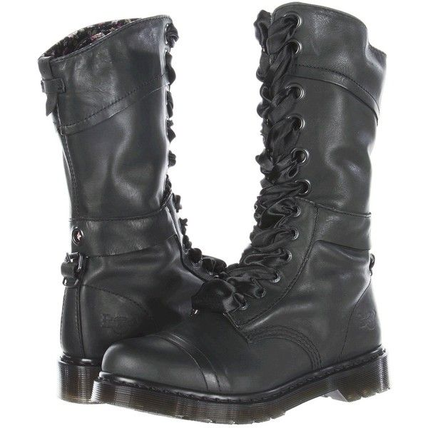 Dr. Martens Triumph 1914 W 14-Eye Boot Women's Lace-up Boots, Black ($128) ❤ liked on Polyvore