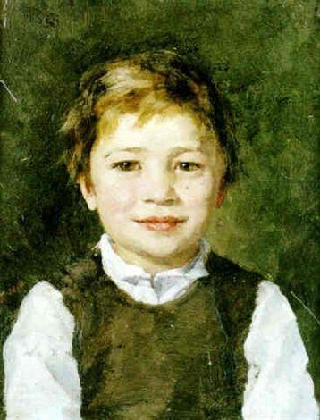 """Leende Pojke"" [Smiling boy]-- by Maria Wiik (Finnish, 1853--1928)"