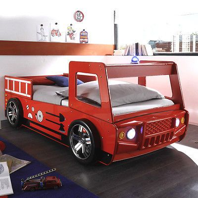 Feuerwehrbett Spark Kinderbett Bett Kinderzimmerbett rot lackiert inkl. Beleucht