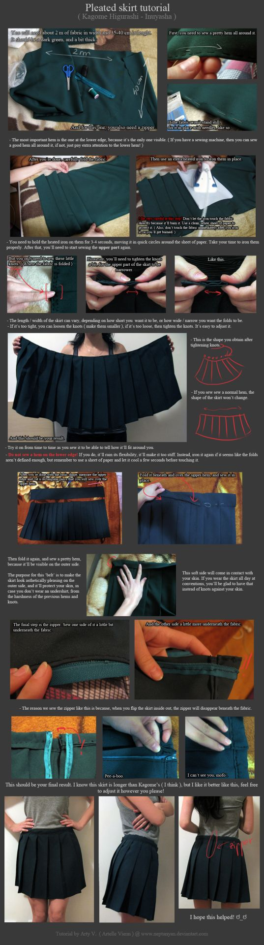 cosplaytutorial: Pleated skirt tutorial - Kagome Higurashi. by neptunyanView the full tutorial here:http://neptunyan.deviantart.com/art/Pleated-skirt-tutorial-Kagome-Higurashi-438872001