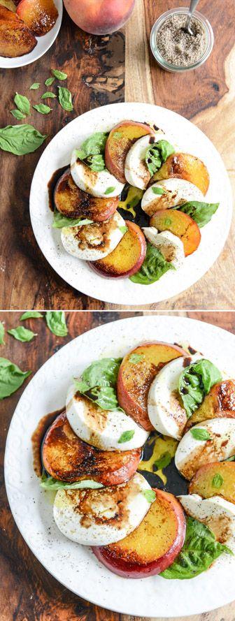 Caramelized Peach Caprese Salad I howsweeteats.com