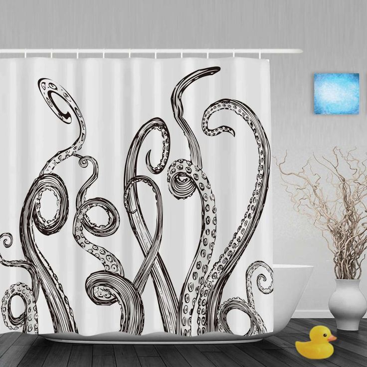 Sketch Octopus Foot And Ship Shower Cutains Animals Home Decor Bathroom Shower Curtains Polyester Waterproof Fabric With Hooks