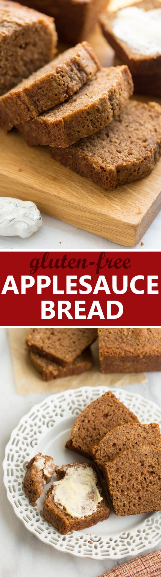 Gluten-Free Applesauce Bread! Cinnamon-spiced bread made with a wholesome gluten-free flour blend. {Dairy-Free}