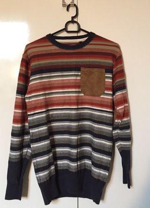 Kup mój przedmiot na #vintedpl http://www.vinted.pl/odziez-meska/swetry-w-serek/12564632-sweter-w-paski-z-kieszonka-ca