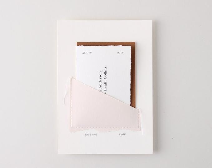 Landscape Wedding Invitation Set Hand Torn Edge Hand Sewn Paper Deckle Edge Natural Minimal Minimalist Simple Invites In 2020 Wedding Invitation Sets Invitations Wedding Invitations