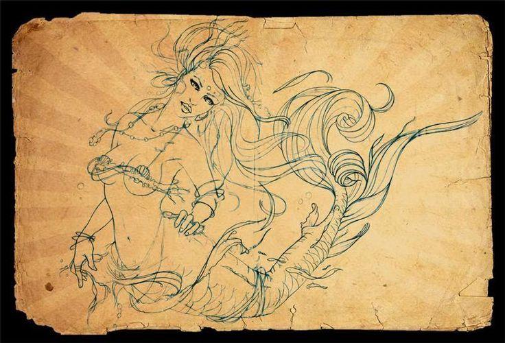 Значение и эскизы татуировки русалок. Что означают тату с русалками.