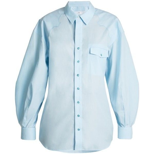Toga Balloon-sleeved cotton shirt ($235) ❤ liked on Polyvore featuring tops, light blue, cowgirl shirts, western tops, blue cowboy shirt, western snap shirts and snap button shirts