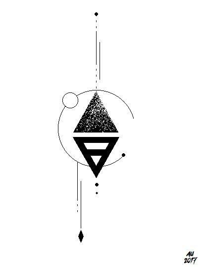 Geometric Tattoo – earth symbol tattoo idea. geometric with linework and dotwork