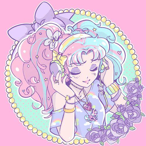 ✮ ANIME ART ✮ pastel. . .fairy kei fashion. . .rainbow. . .headphones. . .listening to music. . .twin tails. . .ribbons. . .pink and blue hair. . .flowers. . .jewelry. . .cute. . .kawaii
