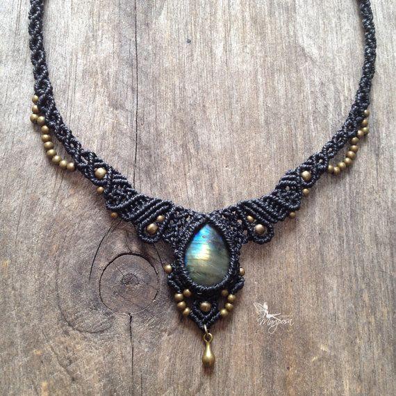 Mikro Macrame Halskette benutzerdefinierte Reihenfolge Stein Boho Schmuck Mikro-Makramee Kette tribal