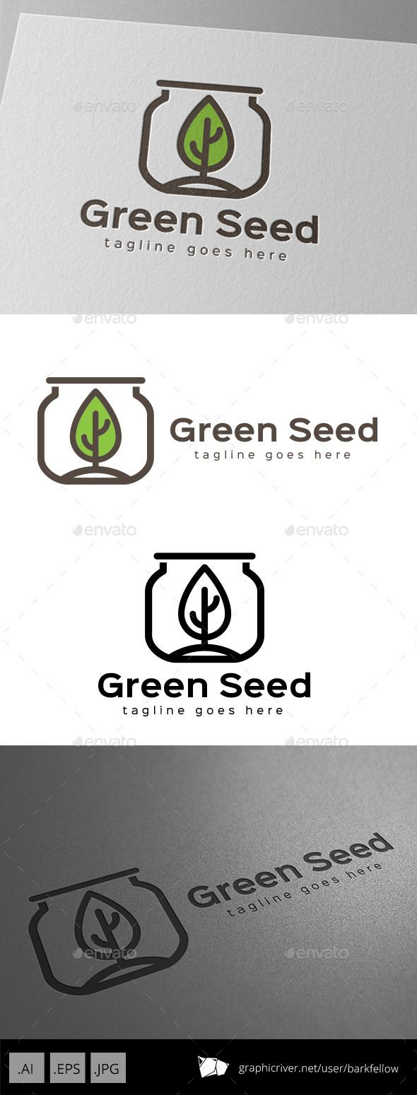 Green Seed Jar - Logo Design Template Vector #logotype Download it here: http://graphicriver.net/item/green-seed-jar-logo-design/11086994?s_rank=1704?ref=nexion