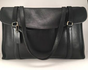 Vintage Coach Briefcase / Coach Envelope Portfolio / Rare Coach Tote / Coach Style 5190 / Black Leather Briefcase /Solid Brass Hardware